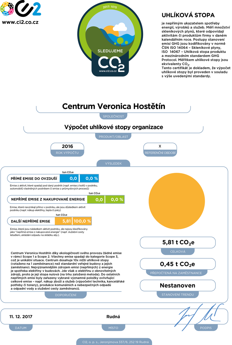 Certifikát Sledujeme CO2 Centrum Veronica Hostětín
